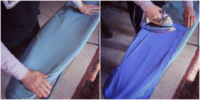 Перед тем, как начать гладить, застилаю доску фольгой и вам советую! Отличный трюк!