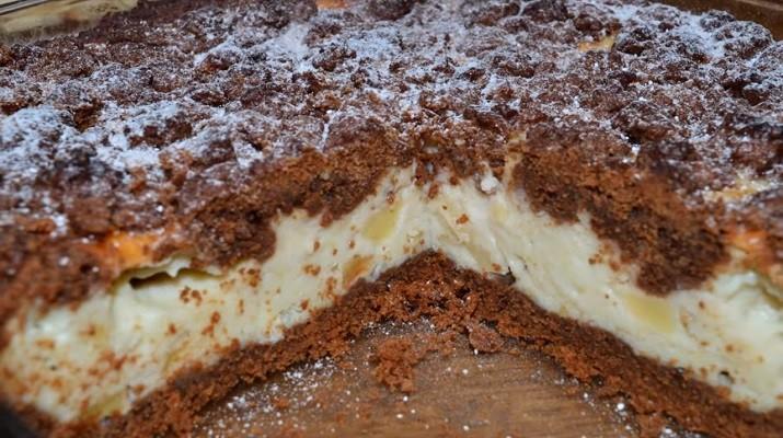 Шоколадно-творожный пирог с фруктами: настолько просто и как вкусно!