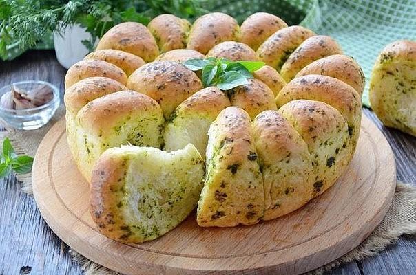 Домашний хлеб с чесноком - мягенький и ароматный