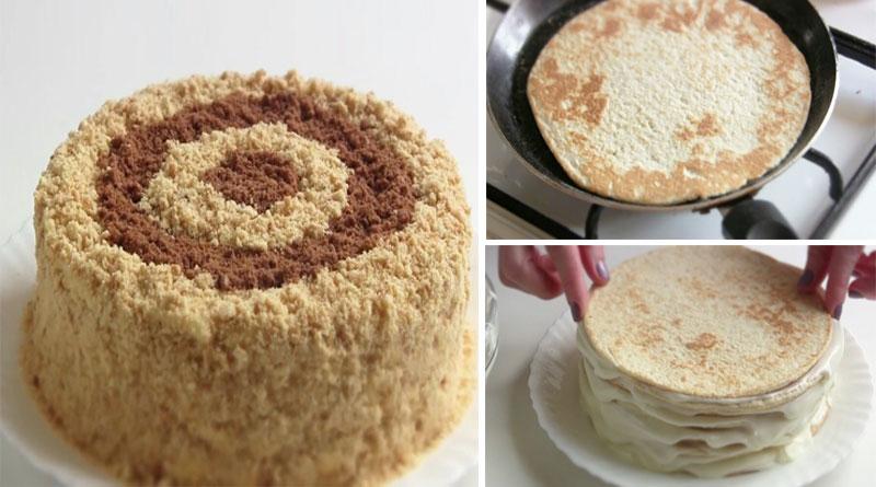 Вкуснейший сметанный торт на сковороде. Очень простой и быстрый способ!