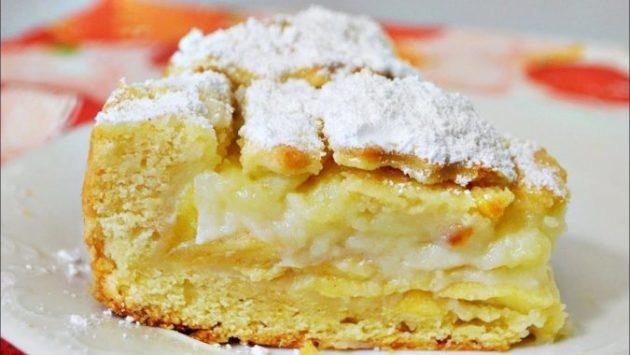 Бесподобный яблочный пирог с заварным кремом. Мне нравится на много больше шарлотки!
