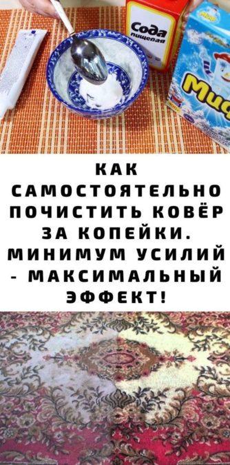 Как самостоятельно почистить ковёр за копейки. Минимум усилий - максимальный эффект!