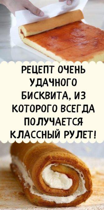 Рецепт очень удачного бисквита, из которого всегда получается классный рулет!
