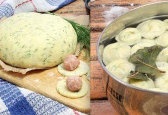 Необычный рецепт привычного блюда: очень вкусные домашние пельмени из теста с зеленью
