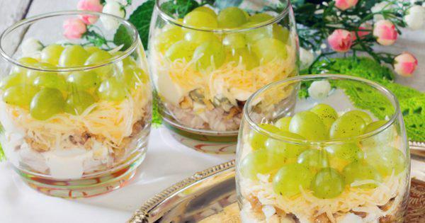Французский салат Мадам. Сочетание винограда, ананаса и курицы - просто идеально!