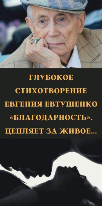 Глубокое стихотворение Евгения Евтушенко «Благодарность». Цепляет за живое...
