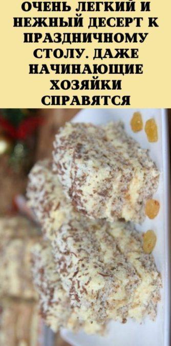 Очень легкий и нежный десерт к праздничному столу. Даже начинающие хозяйки справятся