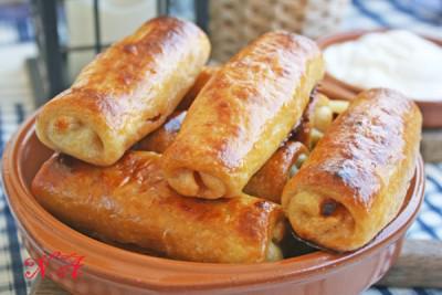 Вкуснейшие трубочки-пирожки с сырно-колбасной начинкой