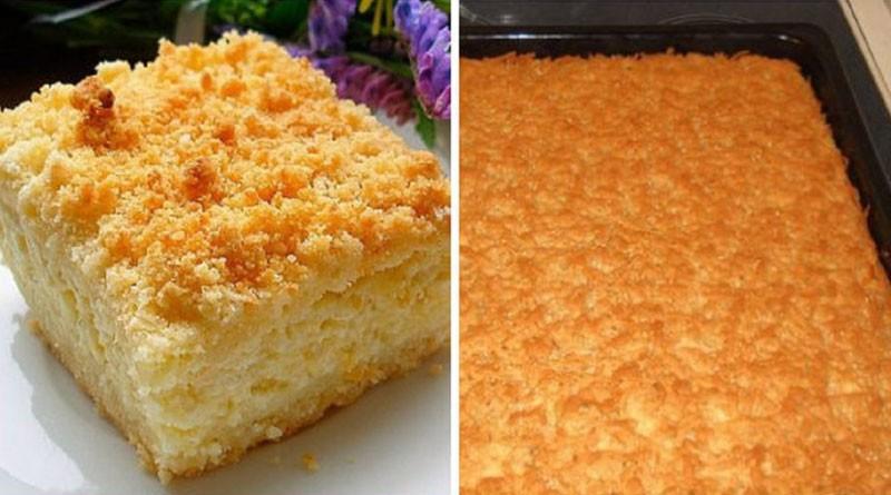 Всеми нами любимый тертый пирог с творогом, очень вкусно получается!