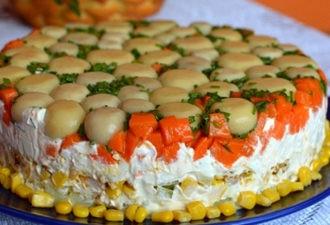 Торт-салат с курицей и грибами. Вкусный и очень сытный. Пробуйте и вы