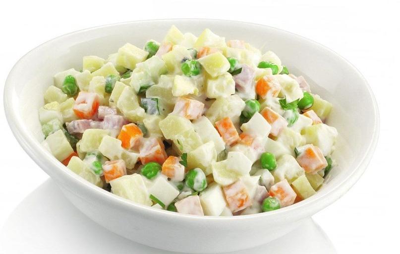 Салат «Оливье» без майонеза и картофеля: ешь, сколько хочешь. Фантастически вкусно!
