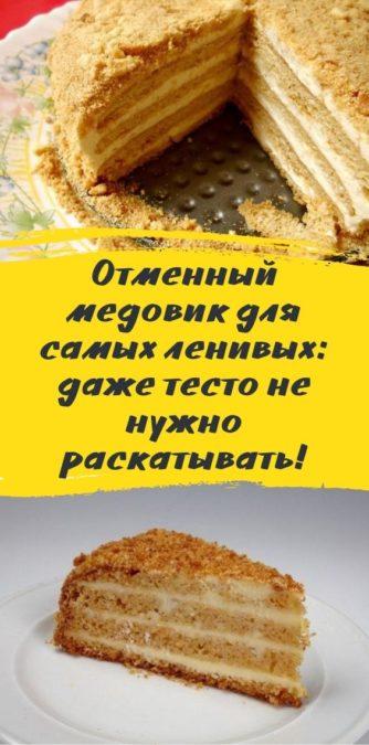 Отменный медовик для самых ленивых: даже тесто не нужно раскатывать!