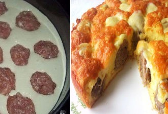 Пирог с фрикадельками под сырной корочкой. Очень вкусный и сытный пирог!
