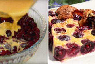 Французский десерт, в котором много начинки и мало теста. Пирог-запеканка «Клафути».