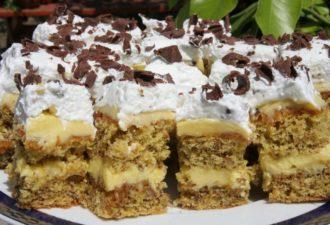 Изумительно вкусный десерт - ореховые коржи с молочным кремом, карамелью и глазурью