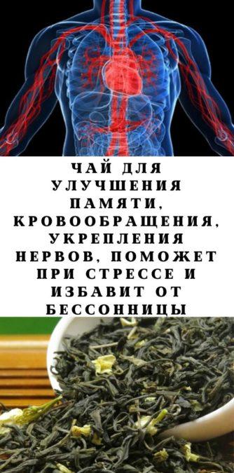 Чай для улучшения памяти, кровообращения, укрепления нервов, поможет при стрессе и избавит от бессонницы