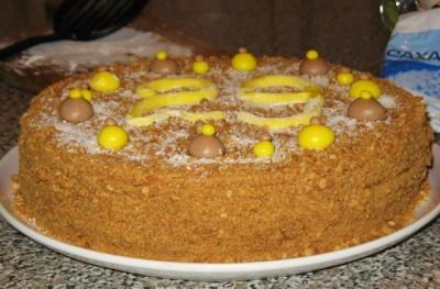 Торт «МЕДОВЫЙ ПУХ» с очень лёгким заварным кремом
