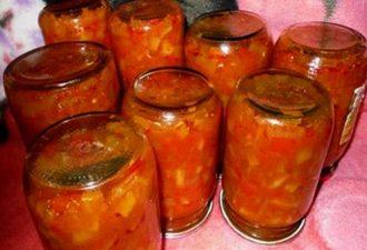 Салат лечо из перца и помидор на зиму с кабачками