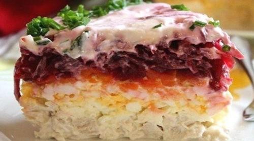 Свекольный салат с мясом «Генерал». Очень нежный и вкусный!