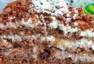 Очень вкусный торт с орехами и сметанным кремом