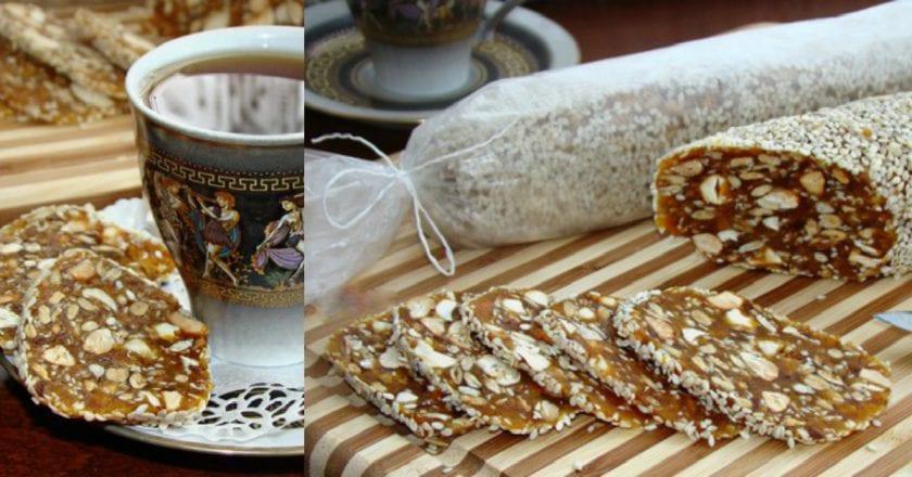Полезная, сладкая, а главное простая домашняя колбаска из сухофруктов