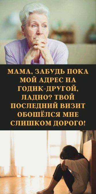 Мама, забудь пока мой адрес на годик-другой, ладно? Твой последний визит обошёлся мне слишком дорого!